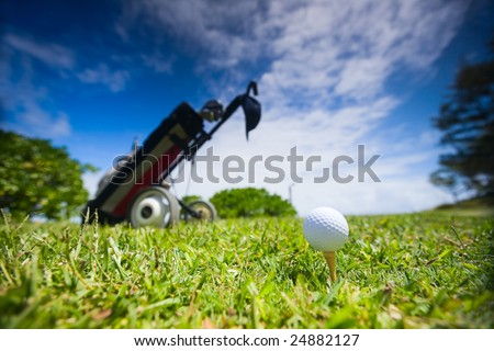 Golf clubs in bag and ball on a beautiful golf course. Taken with wide angel lens. - stock photo