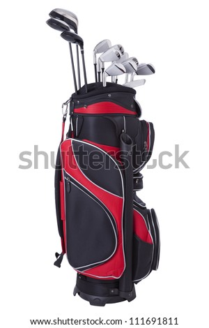 Golf clubs in red and black bag isolated on white - stock photo