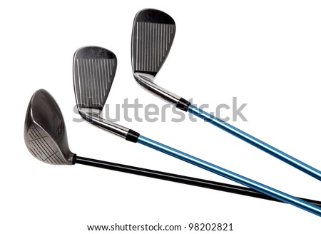 Golf clubs isolated on white (with clipping path) - stock photo