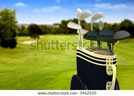 golf clubs on a golf course on a beautiful sunny day - stock photo
