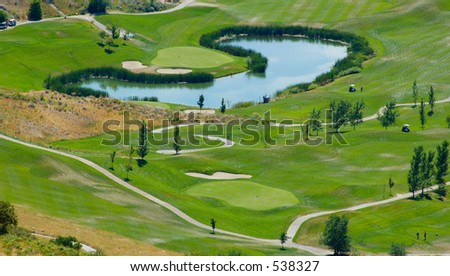 Golf course, aerial shot