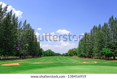 Golf course and blue sky in sunny day - stock photo