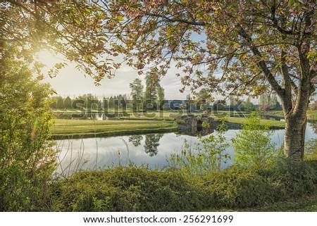 Golf Course at Sunrise - stock photo