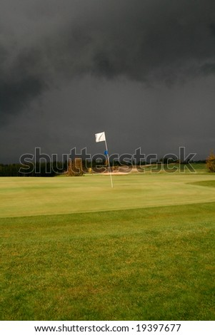 Golf Course- Before Storm - stock photo