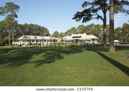 Golf course club house - stock photo