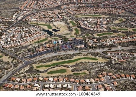 Golf Course Community aerial view near Tucson, Arizona - stock photo