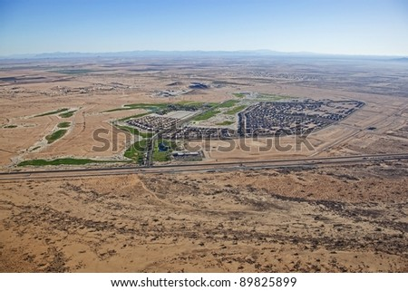 Golf Course community in the desert - stock photo