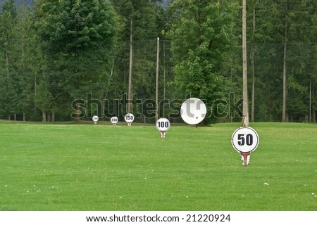 Golf course driving range - stock photo