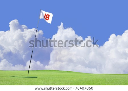 golf course flag at hole 18 - stock photo