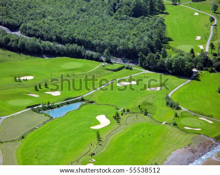 Golf course from above - stock photo