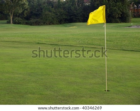 Golf Course Green with Flag and Hole