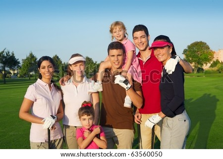 Golf course group of friends people with children posing standing - stock photo