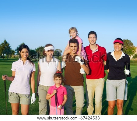 Golf course group of friends people with children posing standing