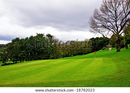 Golf Course in Autumn - stock photo