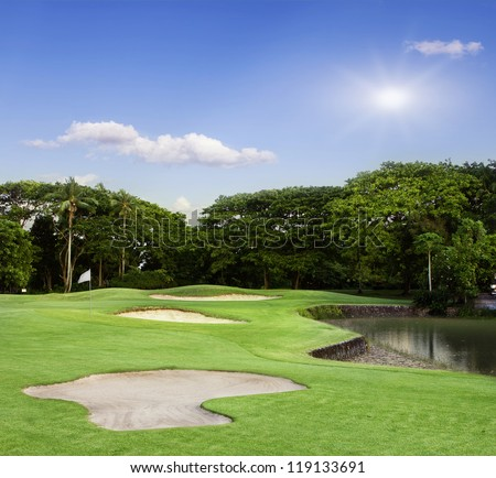 Golf Course in Bali - stock photo