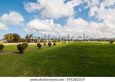 Golf Course in Kauai Hawaii - stock photo