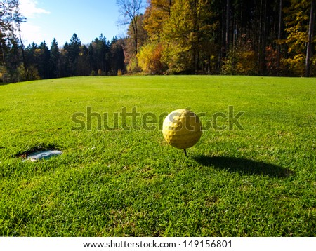 Golf course in sunny day - stock photo