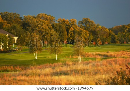 Golf course in sunset. More with keyword group1a