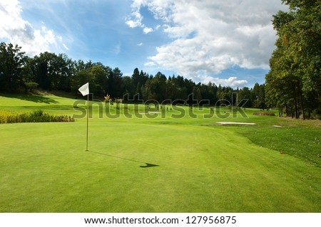Golf course in the countryside. - stock photo