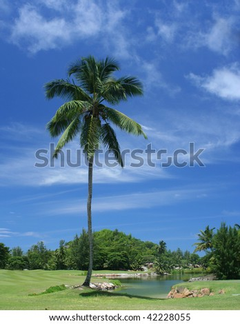 Golf course in the Seychelles with small lake - stock photo