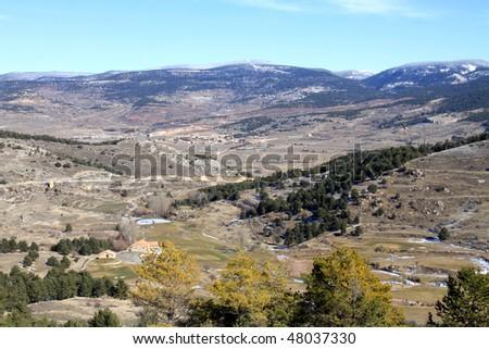 Golf course in winter, Alcala de la Selva, Teruel province, Spain - stock photo