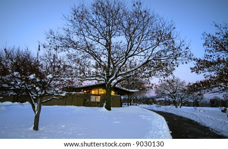 Golf Course In Winter Time - stock photo