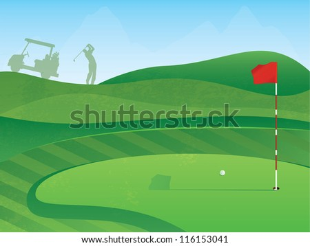 Golf Course Layout with Red Flag and Ball on the Green - stock photo