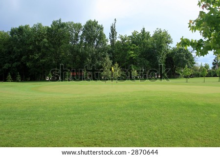 Golf course near the forest - stock photo