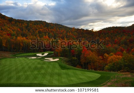 golf course nestled in the North Carolina mountains in the Fall - stock photo