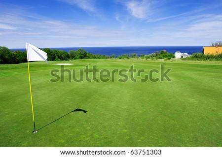 Golf course on Bornholm island, Denmark, Europe - stock photo