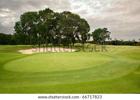 Golf course on island Bali - stock photo