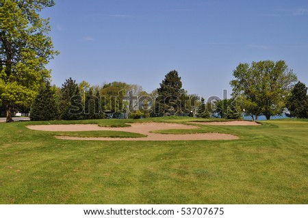 Golf course on lake