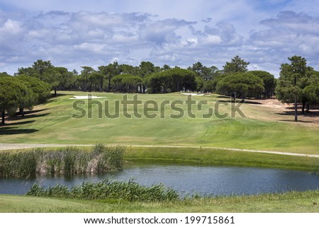 Golf course on Vilamoura, Portugal during sunny day - stock photo