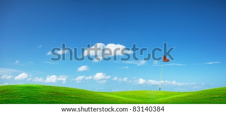 Golf course. Panoramic composition. - stock photo