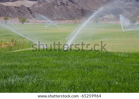golf course sprinklers - stock photo