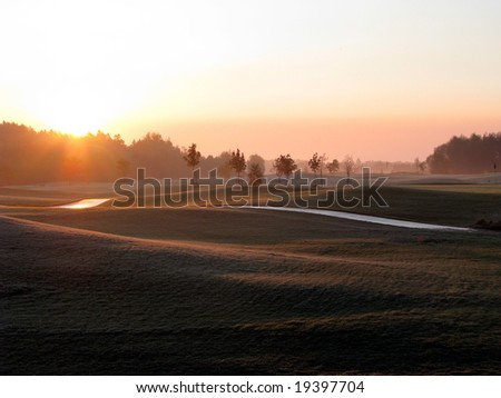 Golf Course - Sunrise - stock photo