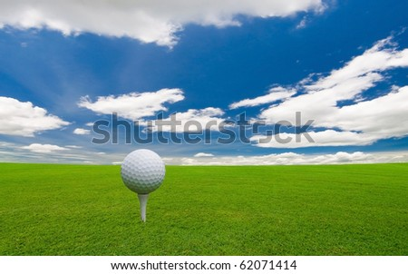 golf course under the blue sky - stock photo