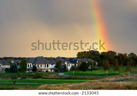 Golf course under the rainbow. More with keyword group1a