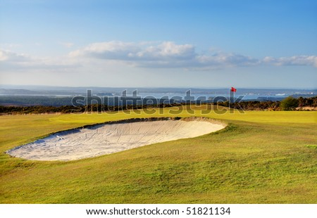 Golf course with a beautiful view of the ocean - Studland, Dorset (UK) - stock photo