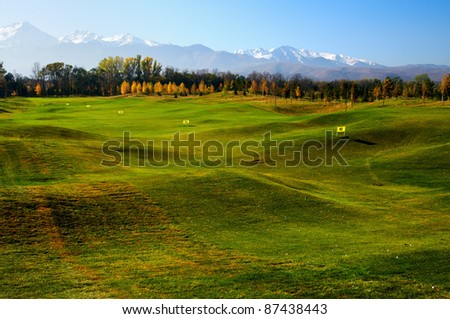 Golf course with driving range - stock photo
