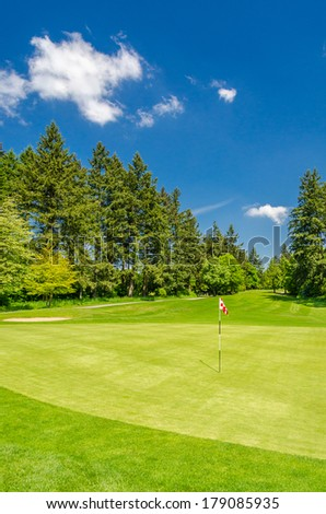 Golf course with gorgeous green and flag. - stock photo