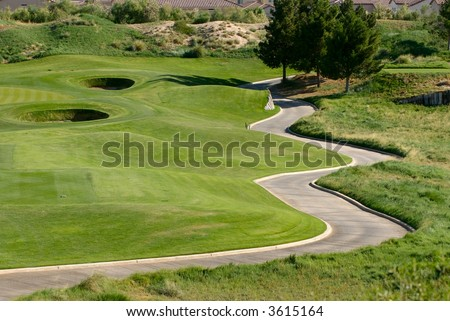 golf course with winding cart path