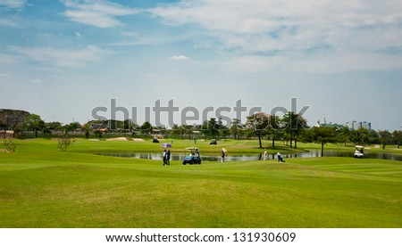 Golf courses in Thailand - stock photo
