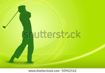 Golf design; golfer driving a ball off the tee