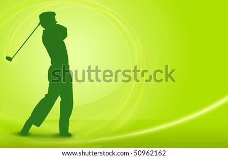 Golf design; golfer driving a ball off the tee - stock photo