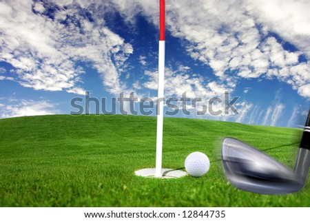 Golf - detail stroke baculine to the ball near potholes. - stock photo