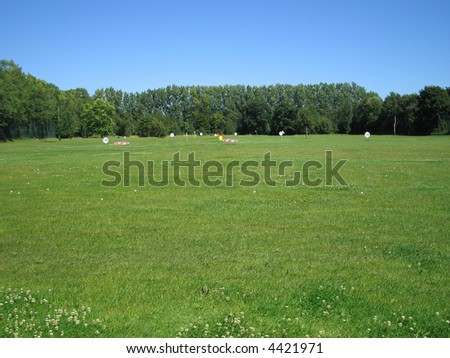 Golf driving range - stock photo