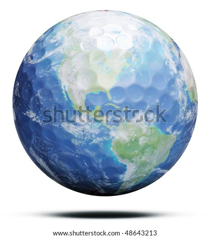 Golf Earth isolated on white - stock photo