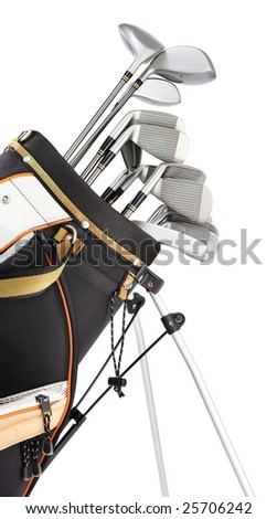 golf equipment in bag isolated on white - stock photo