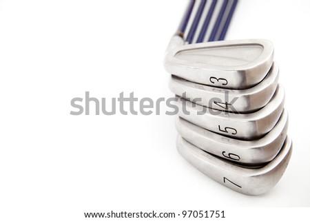 Golf equipment on white isolated - stock photo